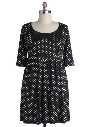 Airport Adorable Dress in Plus Size - Knit, Black, White, Polka Dots, Casual, A-line, 3/4 Sleeve, Better, Scoop, Show On Featured Sale