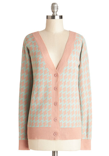 Goin' to Georgia Cardigan - Houndstooth, Long Sleeve, Good, Cotton, Knit, Mid-length, Blue, Pink, Buttons, Casual, Pastel, V Neck, Pink, Long Sleeve