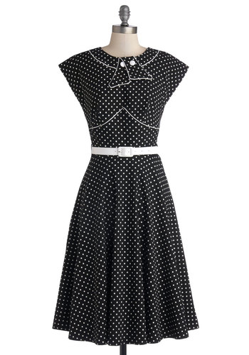Retro Revive Dress - Black, Polka Dots, Buttons, Belted, Casual, Rockabilly, Vintage Inspired, 50s, Sleeveless, Better, International Designer, Collared, Woven, Long, White, A-line, Show On Featured Sale