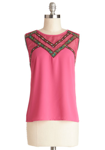 Folk Songstress Top - Sheer, Woven, Mid-length, Pink, Embroidery, Casual, Boho, Sleeveless, Crew, Pink, Sleeveless