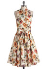 Front Perch Swing Dress in Garden - Cotton, Woven, Long, Floral, Belted, Daytime Party, A-line, Sleeveless, Better, Multi, Tan / Cream, Spring, Variation, Graduation, Wedding, Bridesmaid