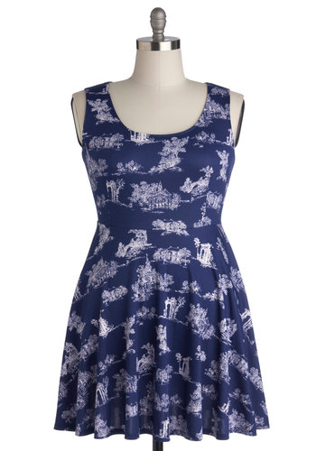 Day Off the Grid Dress in Architecture - Plus Size - Blue, Casual, A-line, Tank top (2 thick straps), Good, Scoop, Knit, Novelty Print, Variation, Sundress