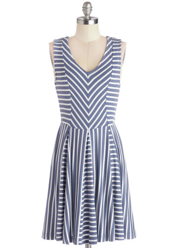 Evening Al Fresco Dress - Blue, White, Stripes, Casual, A-line, Sleeveless, Good, V Neck, Knit, Mid-length, Nautical, Top Rated