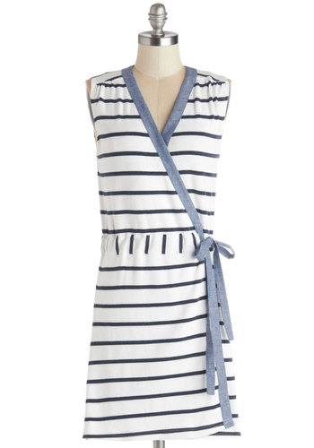 Breakfast on the Beach Dress - Blue, White, Stripes, Trim, Casual, Beach/Resort, Nautical, Wrap, Sleeveless, Better, V Neck, Cotton, Knit, Mid-length, Spring, Summer