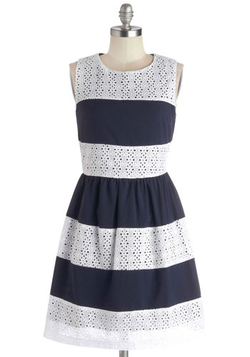 Miles of Smiles Dress - Woven, Mid-length, Cotton, Blue, White, Stripes, Eyelet, Casual, A-line, Sleeveless, Better, Scoop, Spring, Nautical, Sundress