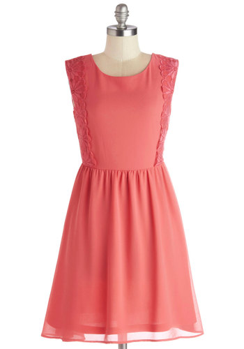 Champagne Brunch Dress - Solid, Lace, Casual, A-line, Sleeveless, Good, Scoop, Chiffon, Mid-length, Pink, Valentine's, Spring