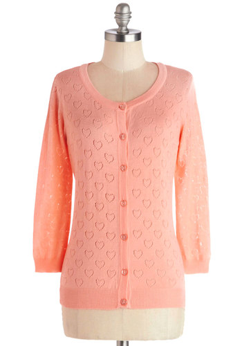 Less is Amour Cardigan in Peach - Sheer, Knit, Mid-length, Pink, Solid, Buttons, Casual, Valentine's, Long Sleeve, Pastel, Spring, Orange, Long Sleeve