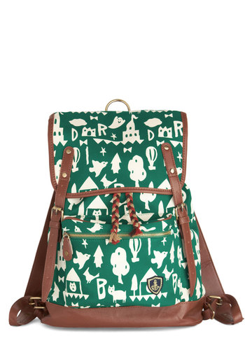 Fantastical Weekend Backpack - Green, Tan / Cream, White, Braided, Buckles, Scholastic/Collegiate, Better, Mixed Media, Faux Leather, Novelty Print, Casual, Travel