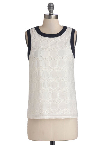 Out for the Afternoon Top - Sheer, Woven, Mid-length, White, Black, Solid, Eyelet, Sleeveless, Spring, Summer, White, Good