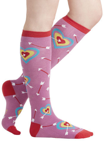 Toe-tally in Love Socks - Pink, Multi, Casual, Good, Knit, Valentine's, Novelty Print, Gals, Under $20, Quirky