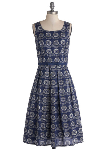 Pattern Designer Dress - Cotton, Woven, White, Floral, Pockets, Casual, A-line, Tank top (2 thick straps), Better, Blue, Pleats, Scoop, Long
