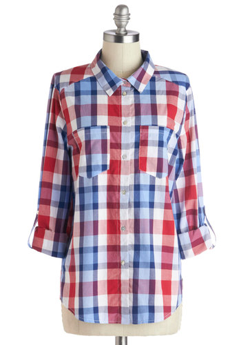 Timeless with a Twist Top - Cotton, Mid-length, Multi, Red, Blue, White, Plaid, Pockets, Casual, Good, Multi, Long Sleeve, Tab Sleeve, Buttons, Americana