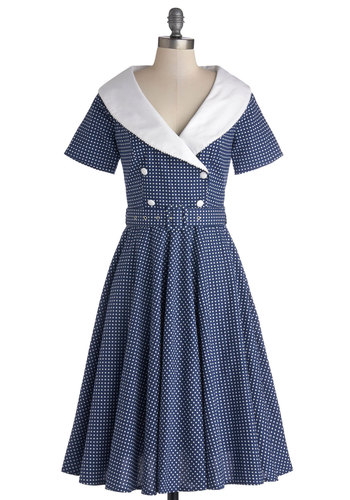 Vintage Dancer Dress - Cotton, Woven, Long, Blue, White, Polka Dots, Buttons, Belted, Party, A-line, Short Sleeves, Better, Daytime Party, Vintage Inspired, 40s, 50s, Collared, Nautical