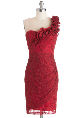 Très Fab Dress - Mid-length, Knit, Red, Solid, Ruffles, Ruching, Wedding, Cocktail, Bridesmaid, Shift, One Shoulder, Good, Statement, Lace