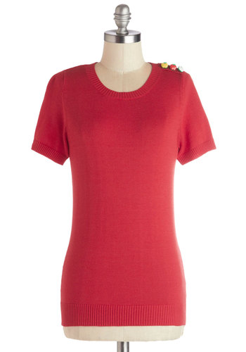 Peer Review Top - Knit, Mid-length, Red, Solid, Buttons, Fruits, Short Sleeves, Good, Exclusives, Spring, Multi, Short Sleeve
