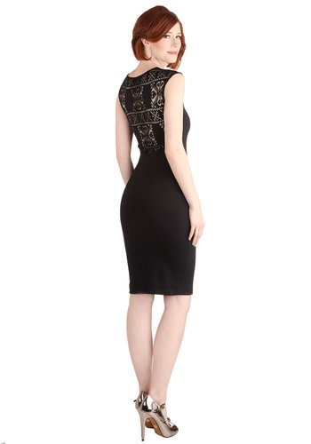 Chic As Can Be Dress - Sheer, Knit, Long, Black, Solid, Girls Night Out, LBD, Bodycon / Bandage, Sleeveless, Good, Scoop, Lace, Party, Cocktail