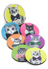 Housecat Party Coaster Set - Woven, Multi, Quirky, Cats, Good, Print with Animals