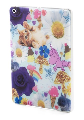 Cutest Collage iPad Air Case - Multi, Floral, Print with Animals, Kawaii, Travel, Quirky, White, Cats, Novelty Print