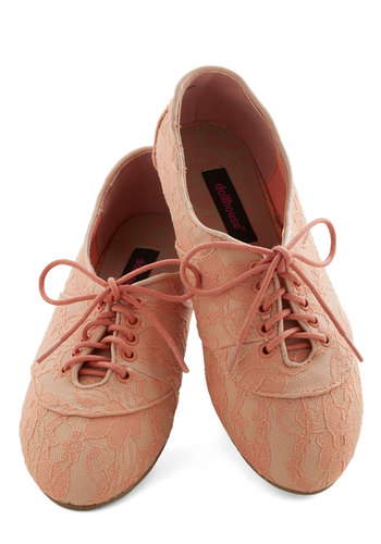 Lace Night Dining Flat in Melon - Flat, Knit, Pink, Solid, Lace, Good, Lace Up, Variation, Lace