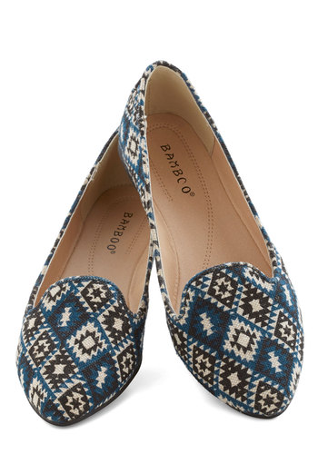 First Course Flat - Flat, Woven, Blue, Tan / Cream, Print, Rustic, Good, Black, Casual