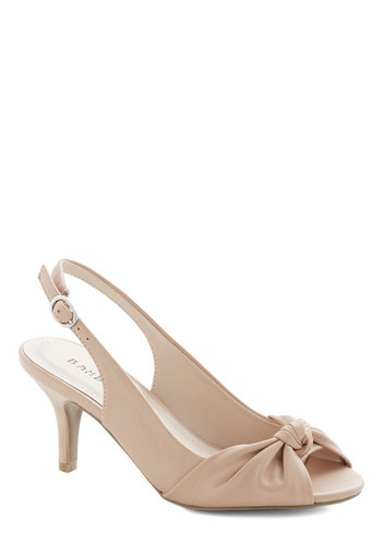 Some Like it Knot Heel in Mauve - Mid, Faux Leather, Cream, Solid, Party, Daytime Party, Graduation, Bridesmaid, Good, Peep Toe, Slingback, Variation