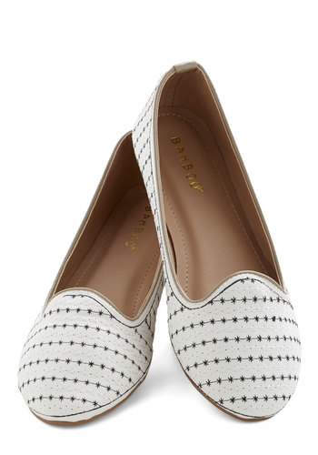 Take an Asterisk Flat - Flat, Faux Leather, White, Stripes, Casual, Good