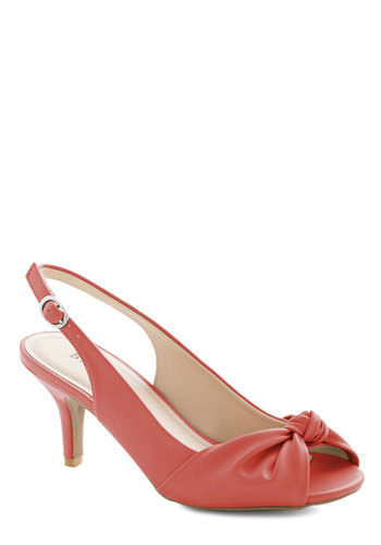 Some Like it Knot Heel in Coral - Mid, Faux Leather, Coral, Solid, Wedding, Party, Daytime Party, Bridesmaid, Valentine's, Good, Peep Toe, Slingback, Variation