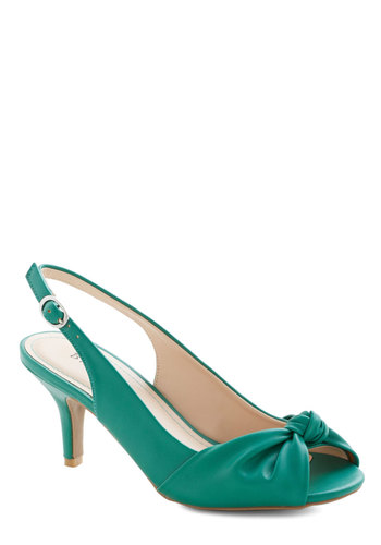 Some Like it Knot Heel in Emerald - Mid, Faux Leather, Green, Solid, Prom, Wedding, Party, Daytime Party, Good, Peep Toe, Slingback, Variation
