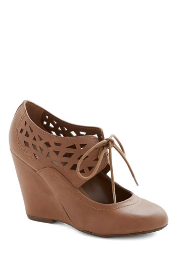Shape Up Your Day Wedge in Cognac - Mid, Faux Leather, Tan, Solid, Cutout, Party, Good, Wedge, Lace Up