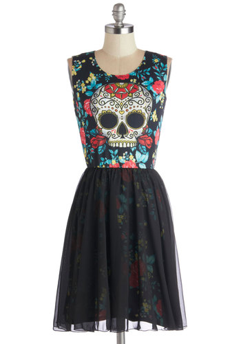 Skeleton Crew Dress - Chiffon, Knit, Woven, Mid-length, Black, Multi, Casual, Skulls, A-line, Sleeveless, Good, Scoop, Novelty Print, Quirky