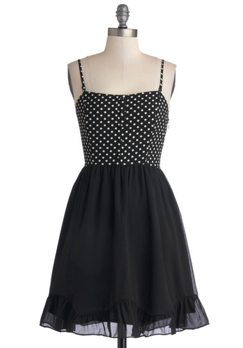 Podcast Prep Dress - Black, White, Polka Dots, Ruffles, Party, A-line, Spaghetti Straps, Good, Mid-length, Woven, Buttons