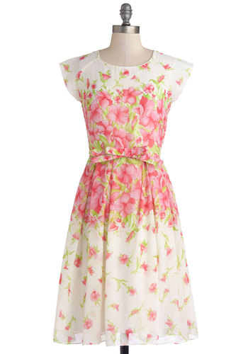 Spring It On Me Dress - Floral, Belted, Daytime Party, A-line, Cap Sleeves, Better, Scoop, Chiffon, Sheer, Woven, Long, Multi, Green, Pink, White, Pleats, Spring, Graduation