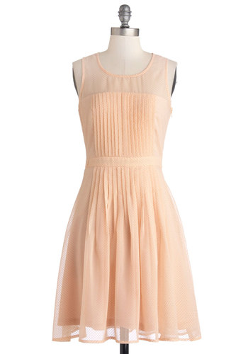 Pleats to be Here Dress - Mid-length, Solid, Pleats, Wedding, Party, Bridesmaid, A-line, Sleeveless, Better, Scoop, Pink, Pastel, Spring
