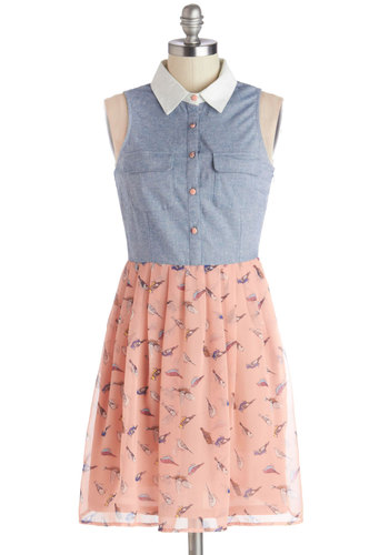 The Tweet Goes On Dress - Sheer, Woven, Short, Multi, Print with Animals, Buttons, Pockets, Casual, Shirt Dress, Sleeveless, Good, Collared, Blue, Pink, Pastel, Twofer, Spring, Summer