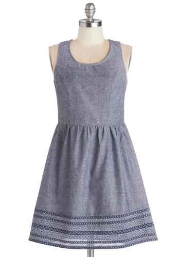 Do, Chambray, Me Dress - Cotton, Woven, Short, Blue, Solid, Embroidery, Casual, A-line, Tank top (2 thick straps), Good, Scoop, Exposed zipper, Boho