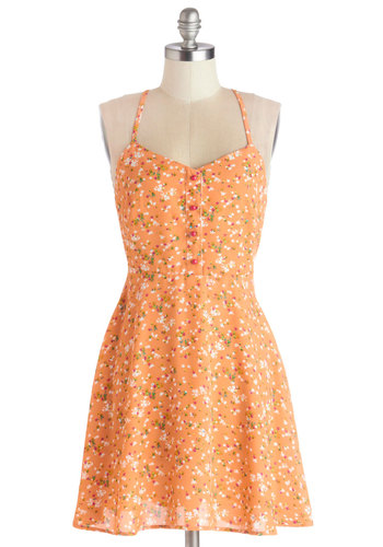 A Capella Open Mic Dress - Woven, Short, Orange, Multi, Floral, Backless, Buttons, Casual, Sundress, A-line, Spaghetti Straps, Good, Spring, Summer