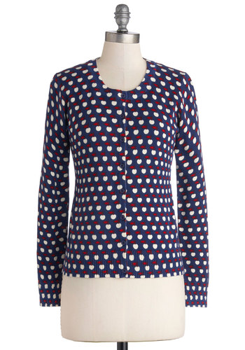It's a Core Thing Cardigan - Blue, Red, White, Novelty Print, Buttons, Fruits, Long Sleeve, Blue, Long Sleeve, Better, Cotton, Knit, Mid-length, Casual