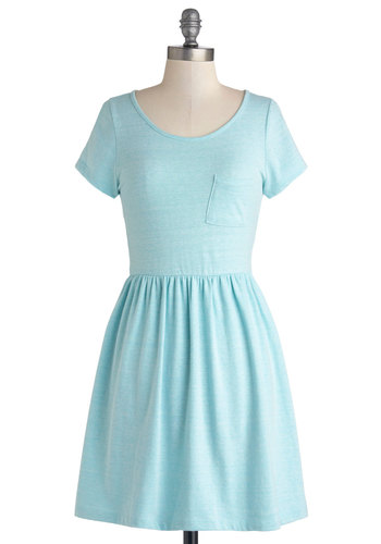 Tranquil Afternoon Dress - Jersey, Knit, Mid-length, Solid, Pockets, Casual, A-line, Short Sleeves, Good, Scoop, Blue, Pastel, Minimal, Spring