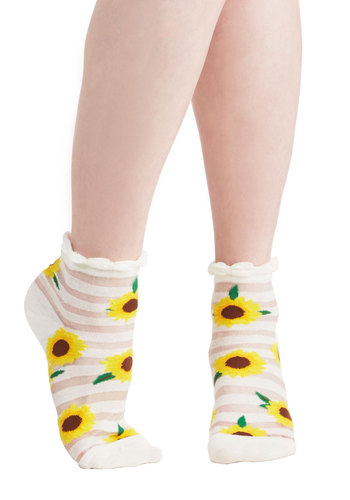 Cheer We Go Socks - Yellow, Brown, Stripes, Floral, Casual, Spring, Summer, Good, Festival, Knit, Multi, White