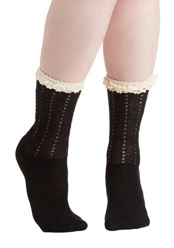 Frill of the Hunt Socks - Black, Tan / Cream, Solid, Crochet, Ruffles, Tiered, Casual, Daytime Party, Good, Sheer, Knit
