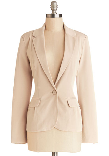 Give it Your Almond Blazer - Woven, Mid-length, Tan, Solid, Buttons, Pockets, Work, Long Sleeve, 1