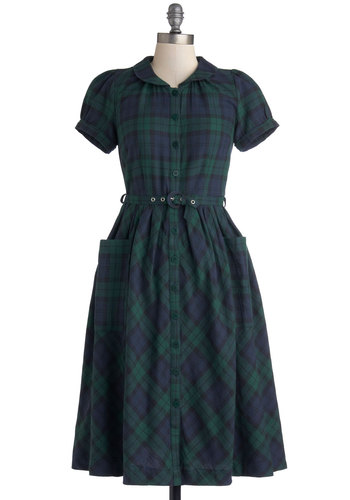 Adorable Academia Dress - Jersey, Cotton, Woven, Long, Green, Blue, Plaid, Buttons, Peter Pan Collar, Belted, Casual, Shirt Dress, Short Sleeves, Better, Collared, Pockets, Vintage Inspired, Scholastic/Collegiate