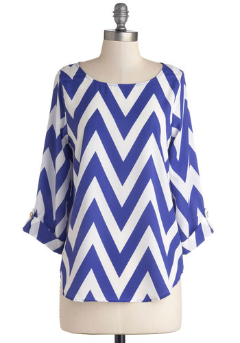 Zoom Bisou Top in Blue Chevron - Sheer, Woven, Blue, White, Chevron, Good, Variation, Blue, Tab Sleeve, 3/4 Sleeve, Mid-length