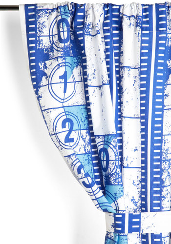 Film Leader of the Pack Curtain - Blue, Dorm Decor, Better, Cotton, Woven, White, Print, Exclusives
