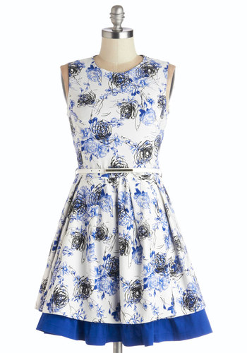 Same Time, Same Vase Dress - Blue, Floral, Tiered, Belted, Daytime Party, A-line, Sleeveless, Good, Mid-length, Woven, Black, Spring, Multi, White