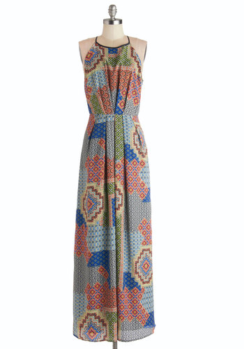 Eclectic Elements Dress - Chiffon, Woven, Long, Multi, Print, Casual, Maxi, Sleeveless, Better, Pleats, Boho, Festival