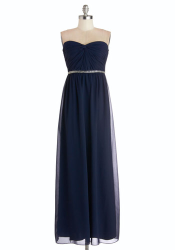 Once Upon a Timeless Dress - Blue, Solid, Beads, Special Occasion, Prom, Maxi, Strapless, Sweetheart, Chiffon, Woven, Long, Wedding, Bridesmaid
