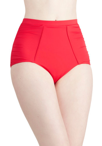 Change of Tides Swimsuit Bottom by Scandale - International Designer, Red, Solid, Beach/Resort, Nautical, Pinup, Vintage Inspired, 40s, 50s, High Waist, Summer, Best, Knit