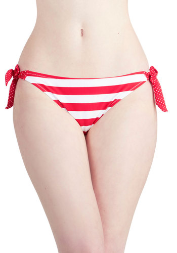 In Print Swimsuit Bottom - Red, White, Polka Dots, Stripes, Beach/Resort, Nautical, Summer, Good, Knit