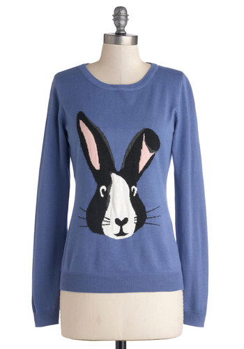 Hoppy Trails Sweater by Sugarhill Boutique - Blue, Black, White, Print with Animals, Critters, Long Sleeve, Better, International Designer, Blue, Long Sleeve, Knit, Mid-length